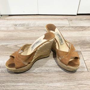 Jimmy Choo wedge espadrille snakeskin sandal
